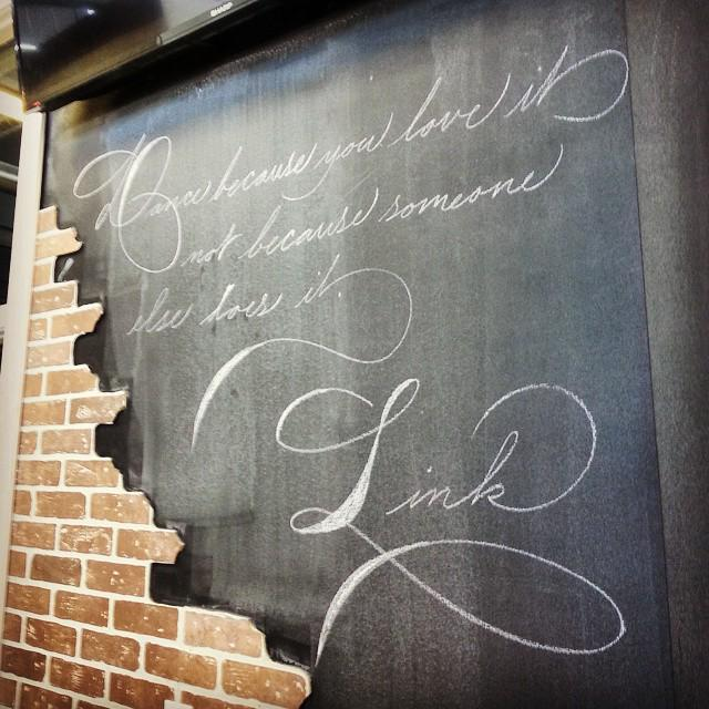 """Dance because you love it, not because someone else does it"" ~ Link  Quick chalk quote today at the @artistsemerge… http://t.co/KtoRRIySNG"