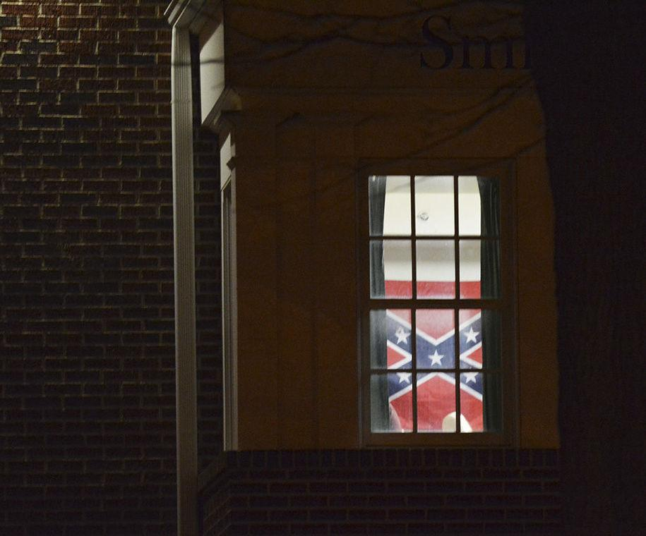 Just in:   From @OColly PIC: Confederate flag seen hanging at #OSU #okstate #SAE house tonight in Stillwater http://t.co/cSsSoxVm1i