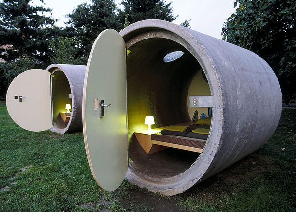A rotund hotel room in a retired concrete drainage pipe: http://t.co/chW9uIhpeM http://t.co/tH0SmVdT54