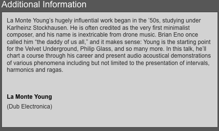 """wow @RBMA is """"killing it"""" booking """"Dub Electronica"""" legend La Monte Young https://t.co/xGfaeinywI http://t.co/P1TFmD09OF"""