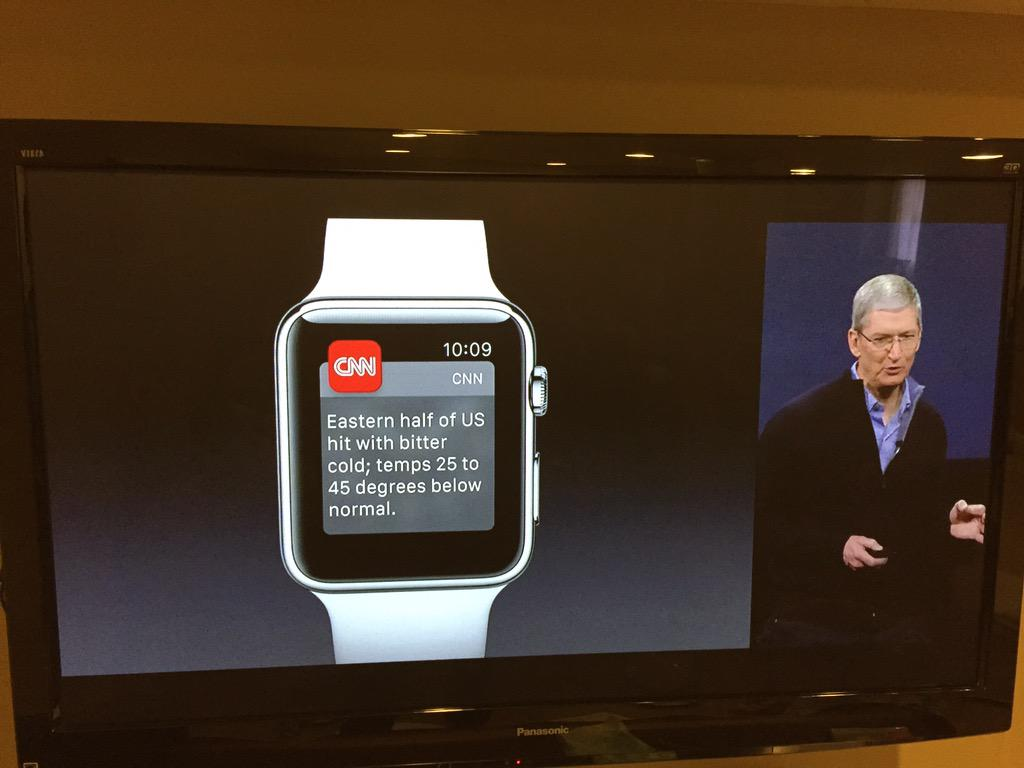 Sweet! @CNN notification on #applewatch shown onstage by @tim_cook! Go @CNNMobile! http://t.co/r6Rnj3YJkE