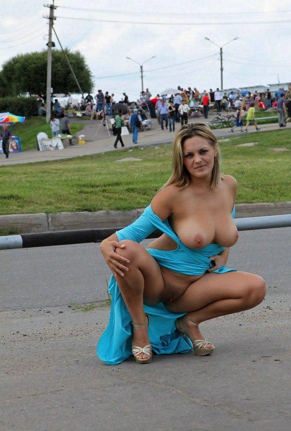 Naughty wife in public