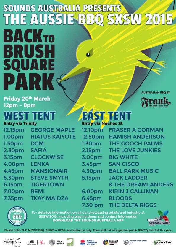 The Aussie BBQ line up and playing times have arrived for @sxsw! #ausbbqsxsw #soundsau #sxsw http://t.co/2NGfnaFsmU