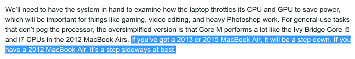 .@arstechnica's hands-on with the Retina MacBook points out the Core M processor pitfall. http://t.co/T2cH1PkGB4 http://t.co/rVZLySJ8mA