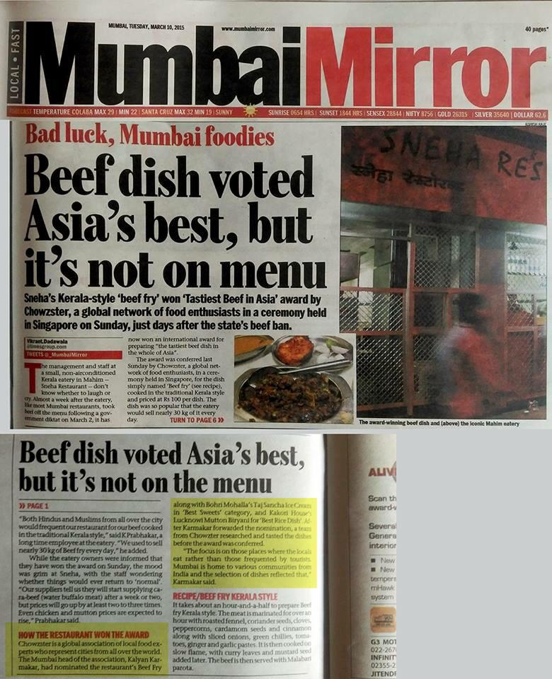 The irony of Mumbai's Sneha's beef fry winning the Tastiest Beef Dish in Asia @Chowzter Award http://t.co/0kjr4Sh4xf http://t.co/xnRKNhB5lZ