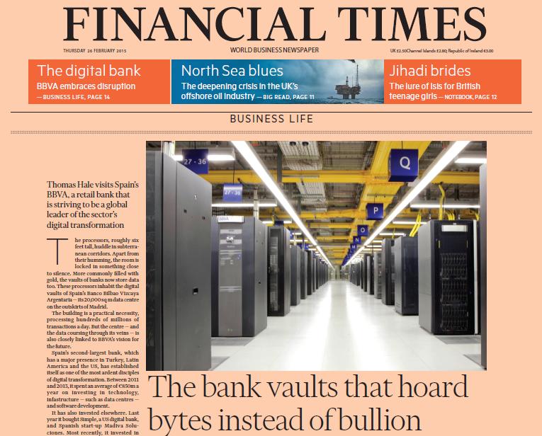 Financial Times sobre @BBVA : El banco que custodia bytes en vez de lingotes http://t.co/c3zYRRKCx6 #fintech #bigdata http://t.co/IpZjkqZXbJ