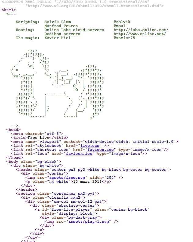 Le code source de la page #Free. http://t.co/4JpPoASfpt