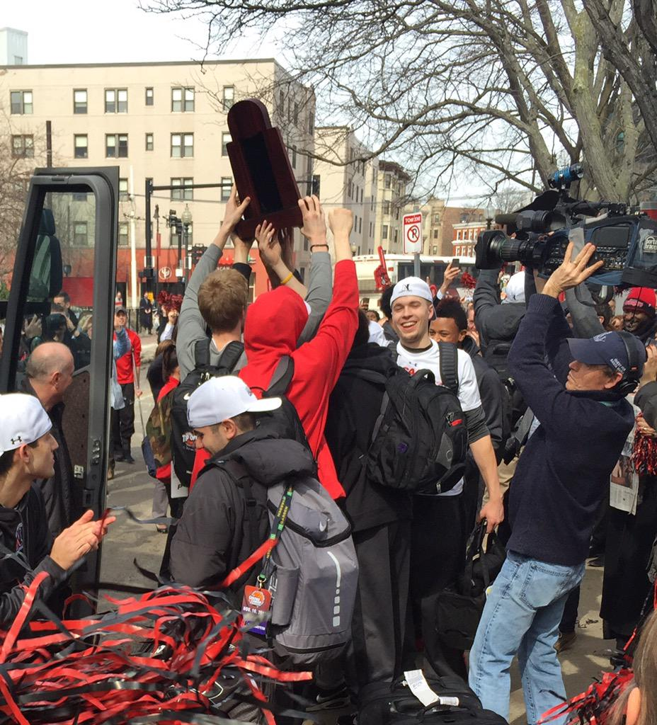 Welcome back, Champs!! Way to win it, @GoNUmbasketball! @Northeastern http://t.co/3P9CkKlCKj