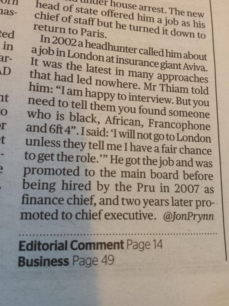 Even Tidjane Thiam Credit Suisse new CEO was worried about being black in a leading role despite his talent #Courage http://t.co/PRTsyvqjEl