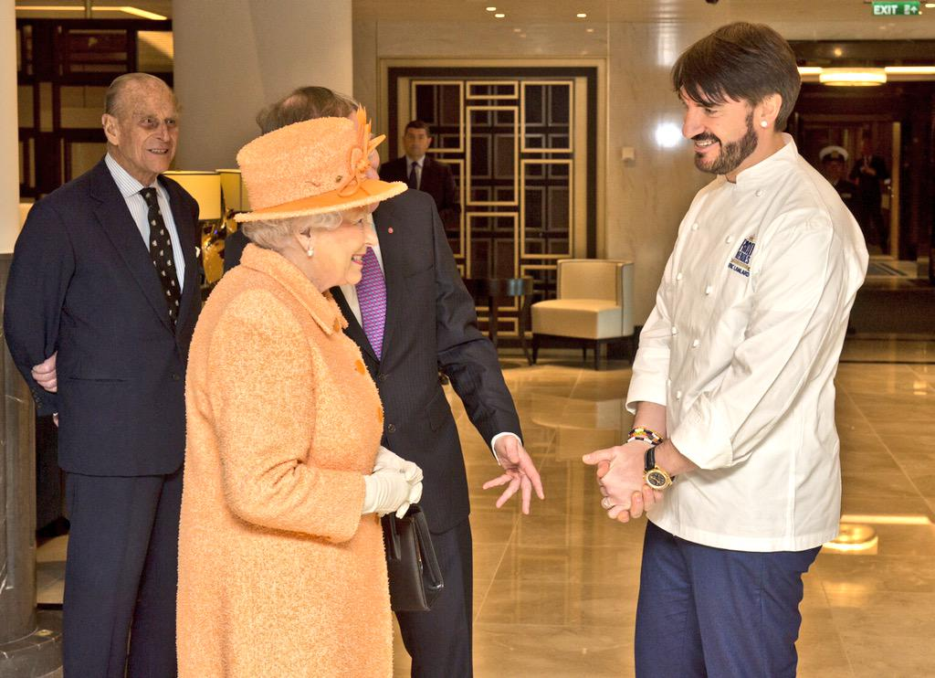 Honoured to meet Her Majesty The Queen today and very proud to be part of @pandocruises #Britannia  @BritishMonarchy http://t.co/mam7276pXZ