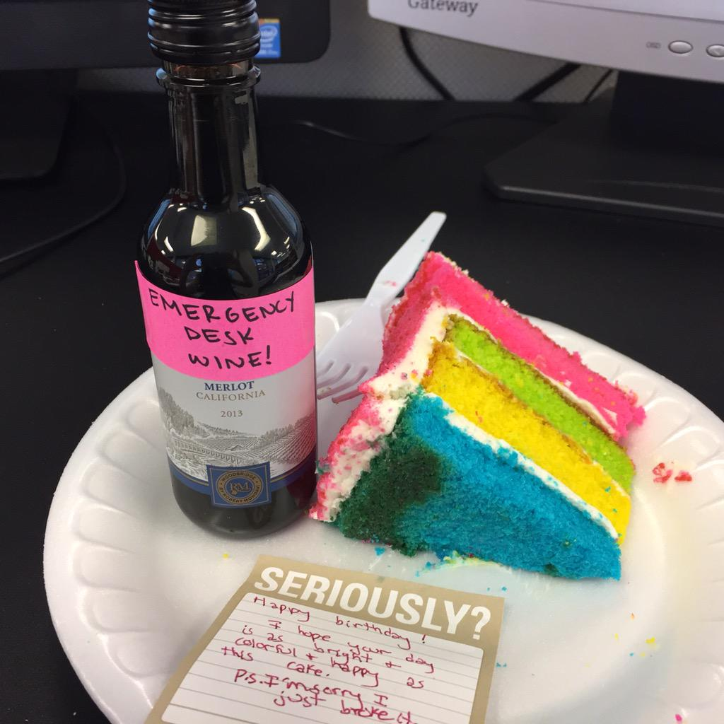 Emergency Desk Wine Rainbow Cake Angelahaupt And Lauraemcmullen