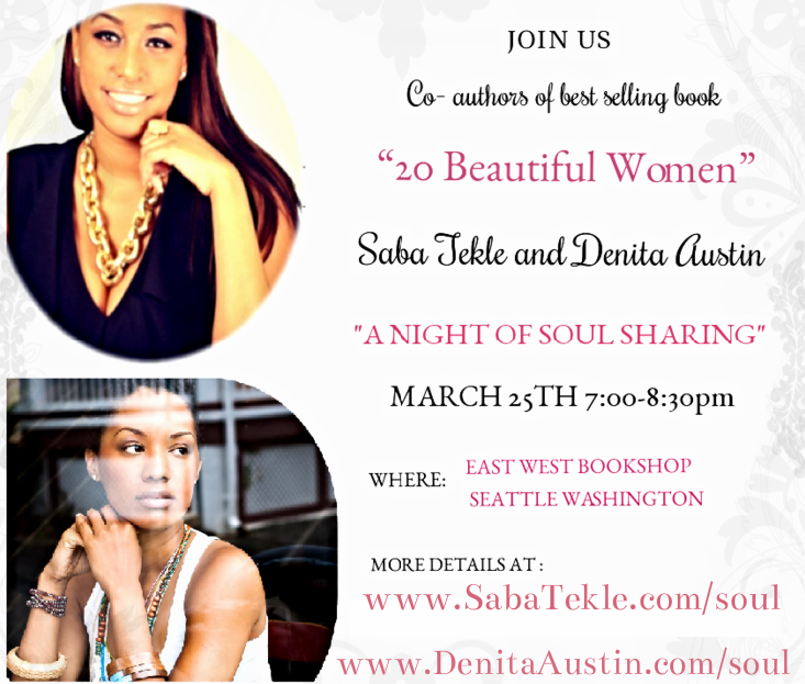 "Are you in Seattle? Join @Denita_Austin and @sabatekle for a ""Night Of Soul Sharing"" more info http://t.co/A6KpuQWU30 http://t.co/i2xhyezwSg"