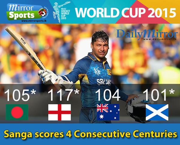 Sanga scores 4 Consecutive World cup Centuries #SLvSCO #CWC15 #LionsRoar http://t.co/4aDGVk5qI5