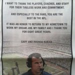 RT @BillBishopKHOU: Gary #Kubiaks full-page Chronicle ad of thanks. A class act. Thank you, Gary. @khou #Texans http://t.co/lMfzja81JO