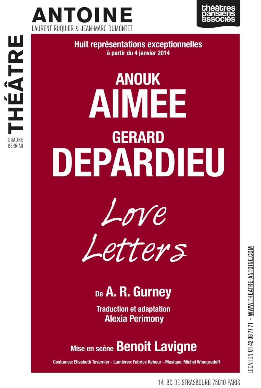 Love Letters Gérard Depardieu Anouk Aimée Théâtre Antoine 2014 Où Ai-Je La Tête ?
