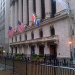 "In recognition of our (SA) nations loss, our friends at the NYSE have done this;flying our flag next to theirs. http://t.co/8rfHFK9qjv"" MT"