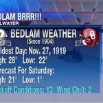 #OUvsOSU better known as #Bedlam is tomorrow at 11am. This years game will be the coldest game ever played. #OKwx http://t.co/JGlltemvPO