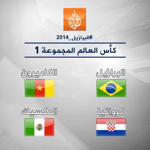 هذه هي المجموعة الأولى ل- #كأس_العالم. هل منتخبكم المفضل من ضمنها؟ #البرازيل_2014 http://t.co/hRXvq4dT1r