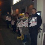 Once again outside @TheGingerchef Gingerman #Brighton this evening. We are protesting at the #foiegras on their menu. http://t.co/tOLtKC0356