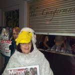 Growing support for our #foiegrasfree #brighton Tonight Daffy Duck joins us outside @TheGingerChef Lots of interest! http://t.co/GwZ7Gx8MwR
