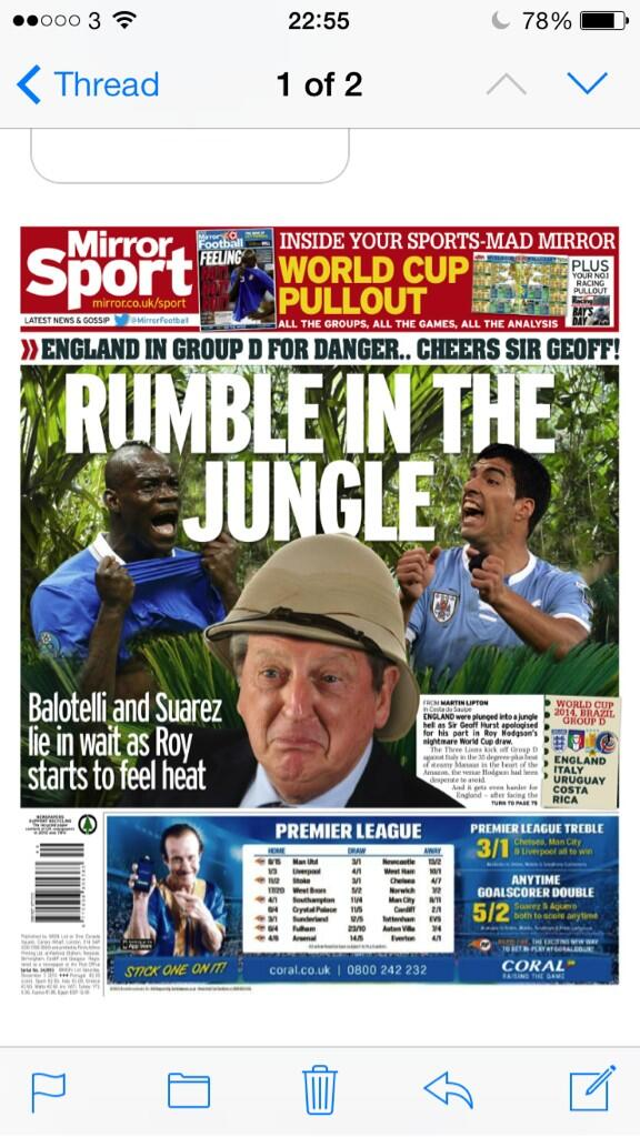 Saturdays Mirror Sport: England set for Rumble in the Jungle with Suarez and Balotelli