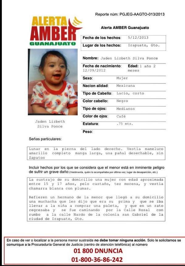 Vaitiare Mateos Bear (@vaitiaremateos): Se activa alerta Amber por niña sustraída de su casa en Irapuato, Guanajuato RT http://t.co/qZ2bR5euoo