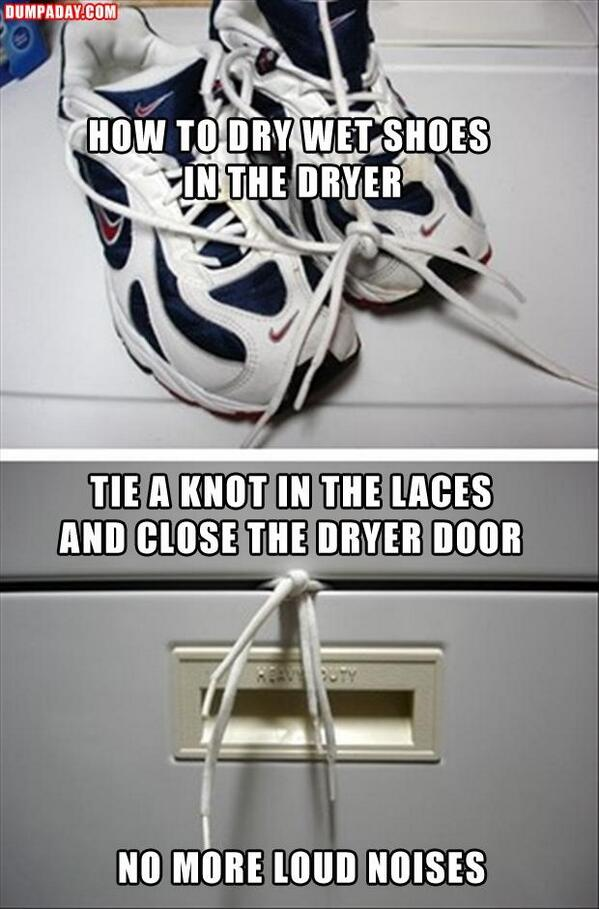 Guy Skill:  How to dry your shoes in the dryer with no noise - http://t.co/41eWpHvKE0