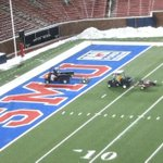 Heat blowers work to remove snow and ice from field at SMU http://t.co/IkjyzxkNNX