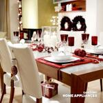 Holiday decorating tip: Combine bold red accessories to create a dramatic, eye-catching centerpiece.