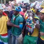 Bafana Bafana supporters singing outside #Nelson #Mandelas house in Houghton #RIPNelsonMandela #sabcnews http://t.co/qR3v6ulm5E