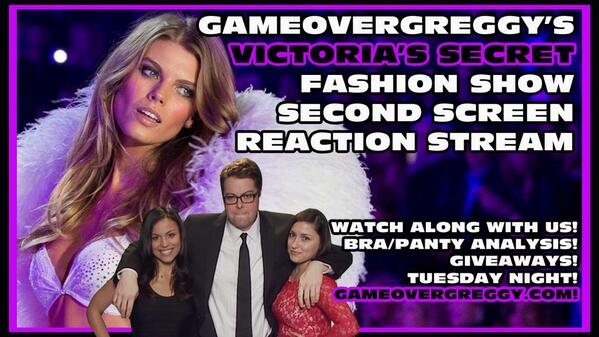 Alexis Cozombolidis  (@LetsGetLexi): This Tuesday @GameOverGreggy @steimer and I talk bras and panties while watching @VictoriasSecret fashion show http://t.co/PedMst9Xtu