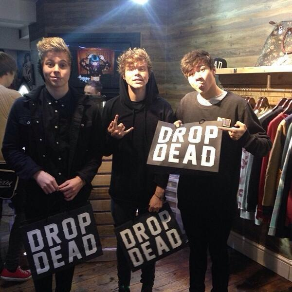 The guys in @5SOS just popped by our London Store to pick up some of our Winter 2013 collection #5SOSKOKO #carnaby http://t.co/tOrJ7EhGrn