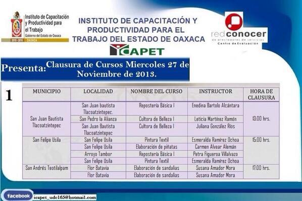 ICAPET Oaxaca (@ICAPETOaxaca): Nuestra agenda de clausuras de cursos para el día de mañana en Acatlán de Pérez Figueroa @GobOax @TeresitaAhuja http://t.co/DpmXSiHiLc