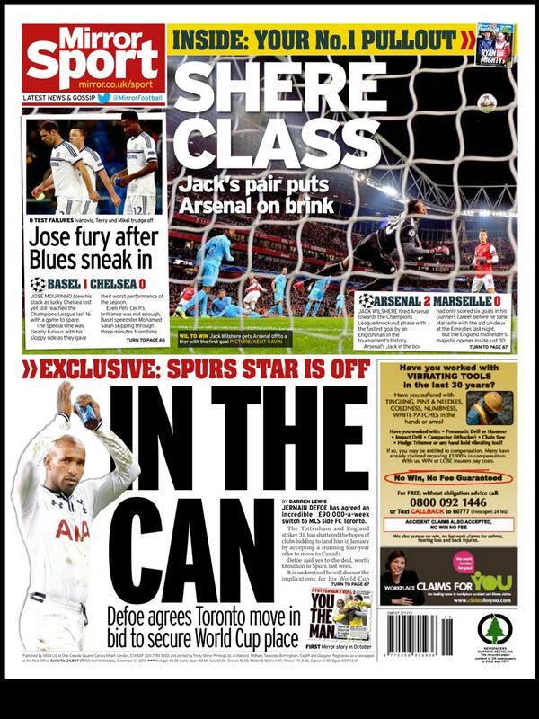BaCHXHnCAAACPBG Tottenhams Jermain Defoe agrees £90,000 a week deal to join MLS side FC Toronto [Mirror]