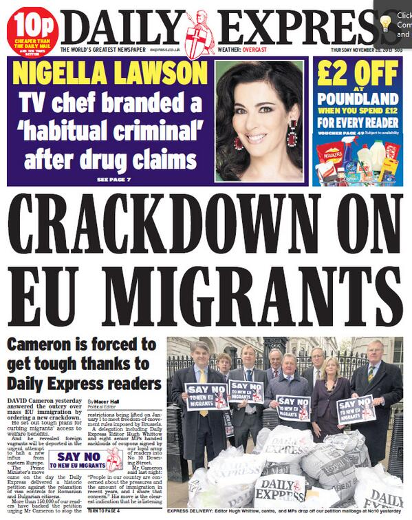 EXPRESS FRONT PAGE: 'Crackdown on EU Migrants' #skypapers http://t.co/q3LU6tQOGM