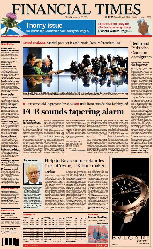 """FT FRONT PAGE """"ECB sounds tapering alarm"""" #skypapers http://t.co/VatlURdTw6"""