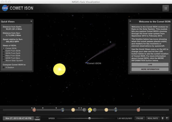 Good luck to Comet ISON - we'll see you on the other side! . Keep track with our module at http://t.co/o0SEyt4dwU http://t.co/HXCNP3fcpX