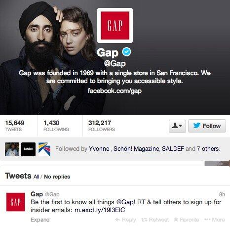 In solidarity with Sikhs, @gap changed its Twitter background to this, after a poster was defaced: http://t.co/EHslzfVqAw