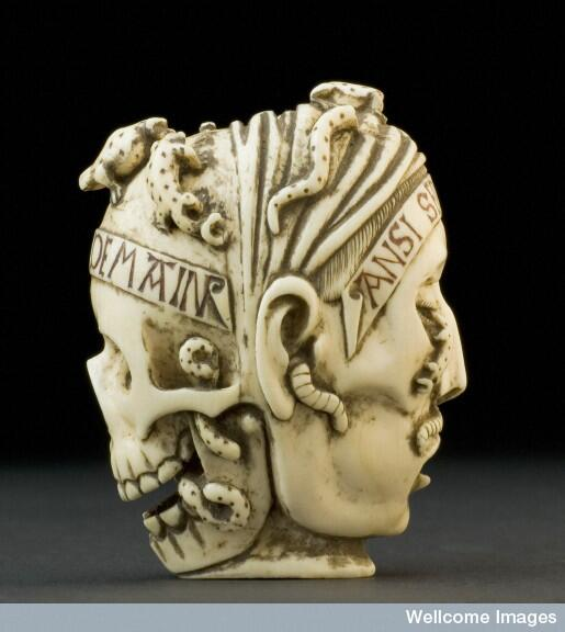 Ivory model one side skull, the other side a face (17th century). #mementomori #death http://t.co/xJSiFab1u7