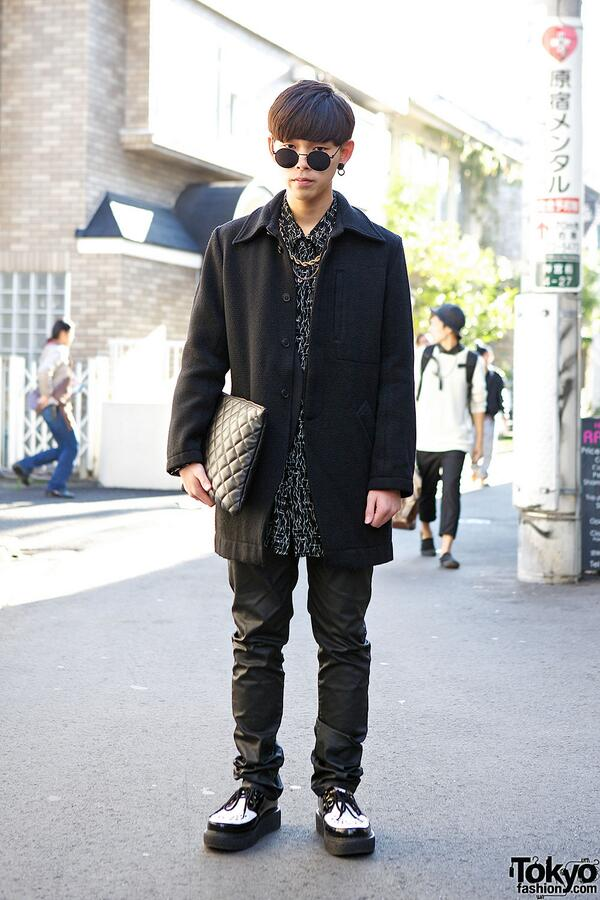 Harajuku Guy In Dark Look W Creepers Quilted Clutch Wego Boy London Resale Fashion