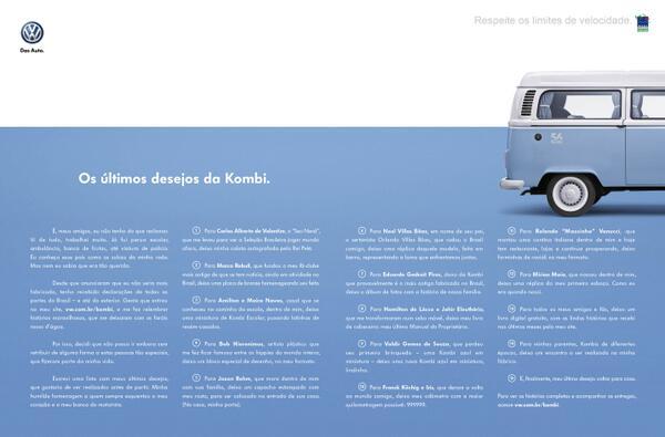 """A Kombi está se despedindo e ganha anúncio onde """"conta"""" quais são seus últimos desejos. Amanhã, na Veja e no Estadão http://t.co/7YcRP61isU"""