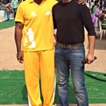With actor Sunil at the CHIREC Cricket League! We worked together in Maryada Ramanna (I was double my size then!) :)