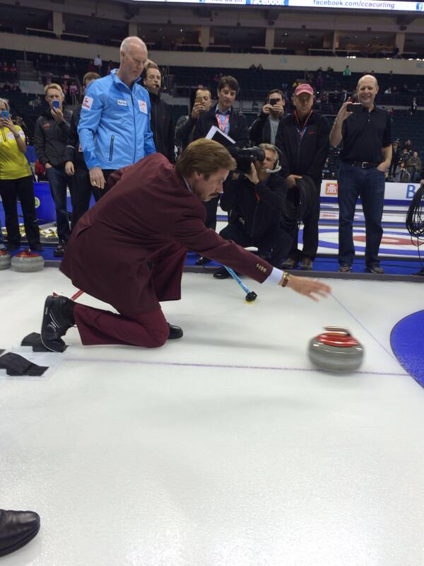 Check out Ron Burgundy's curling form! @RonBurgundy #rotr http://t.co/j1FSDzDxE1