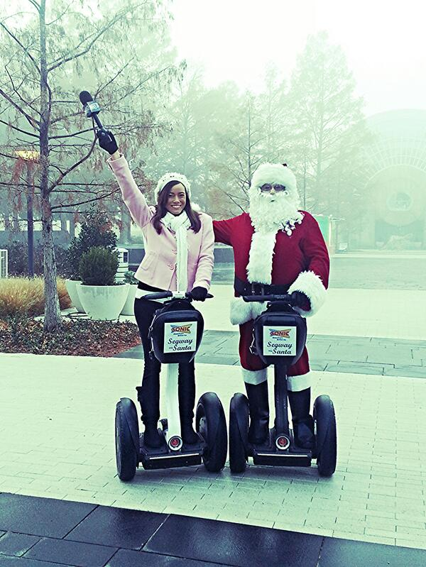 Ashley Kringen (@Ashleykringen): Cruising DT OKC with Sonic Segway Santa. He's handing it goodies all December #adventureswithashley  @DowntownOKCInc http://t.co/41RCLrDEW6