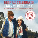 RT @Caribou_Coffee: We turn 21 this week! Celebrate our 21st birthday with a Buy One, Get One for 21¢ offer tomorrow! http://t.co/Dgy5d2qE5L