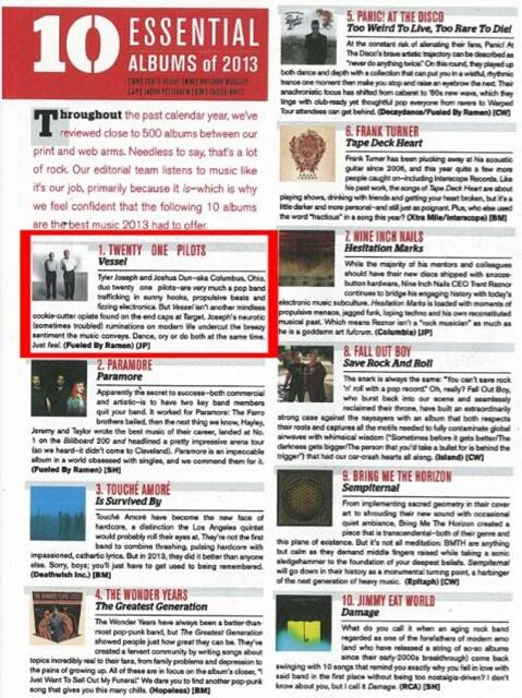 Alternative Press names Vessel by Twenty One Pilots the #1 essential album of 2013 http://t.co/MqQBlfqLvo