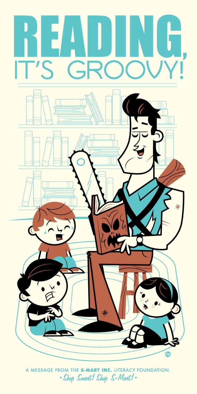RT @bigevanb1981: Hey @GroovyBruce did you knoe Ash ♥ Books & Literacy & teaching kids 2 read? :-)  #literacyfoundation #evildead http://t.co/MLZ9wM4IDm