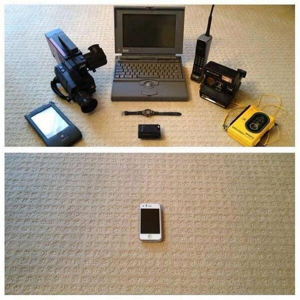 Двадцать лет назад для всего этого технодобра нужен был небольшой чемодан. Сейчас мы просто кладем его в карман http://t.co/lMecgCQQEd