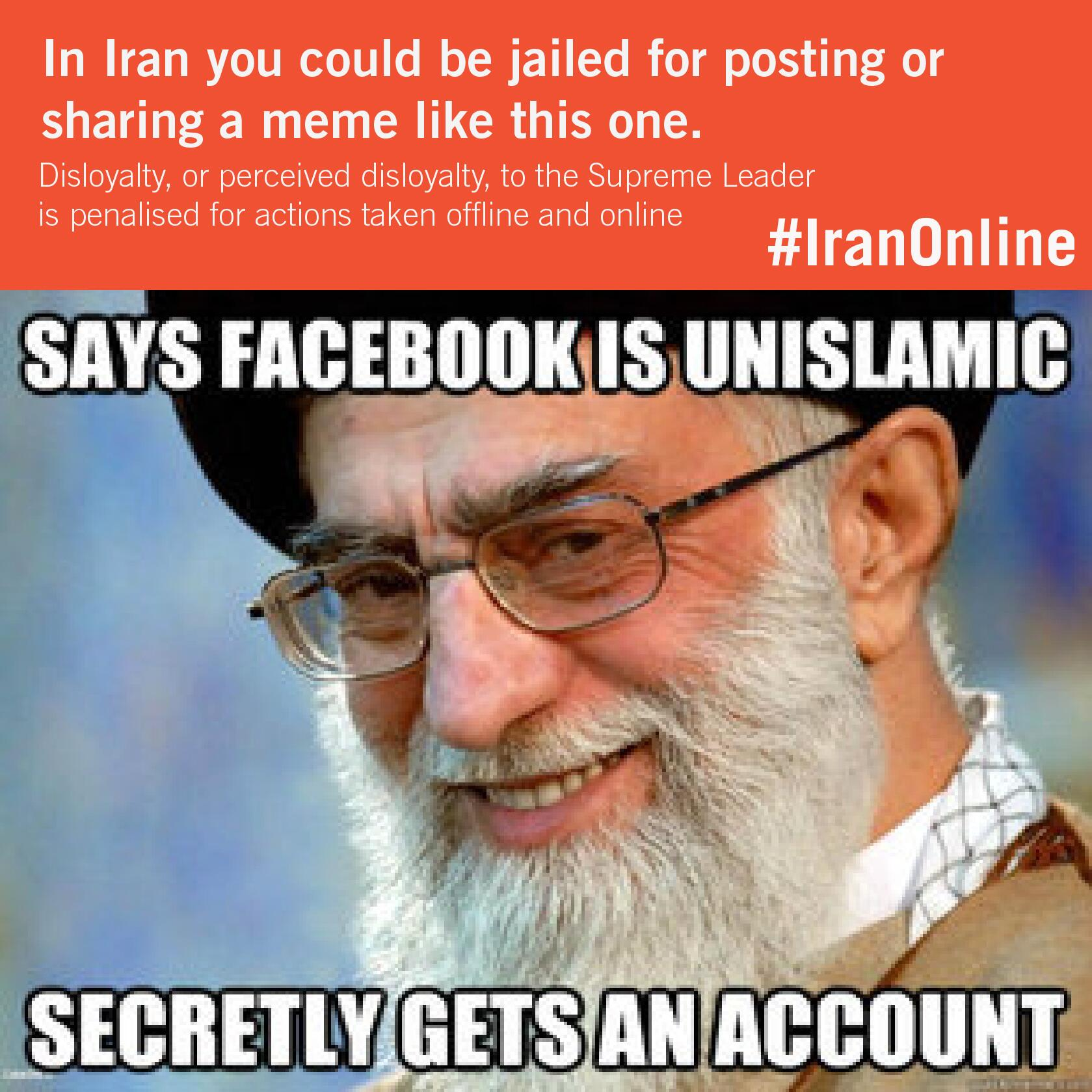 @article19org: In Iran you can go to jail for posting memes [like this one]  #IranOnline