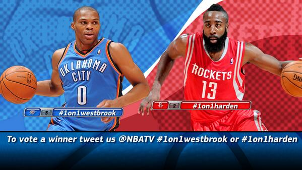 Tell us who YOU think would win a 1-on-1 matchup: @RussWest44 OR @JHarden13? Vote #1on1Westbrook OR #1on1Harden http://t.co/vRYeKxZEVW